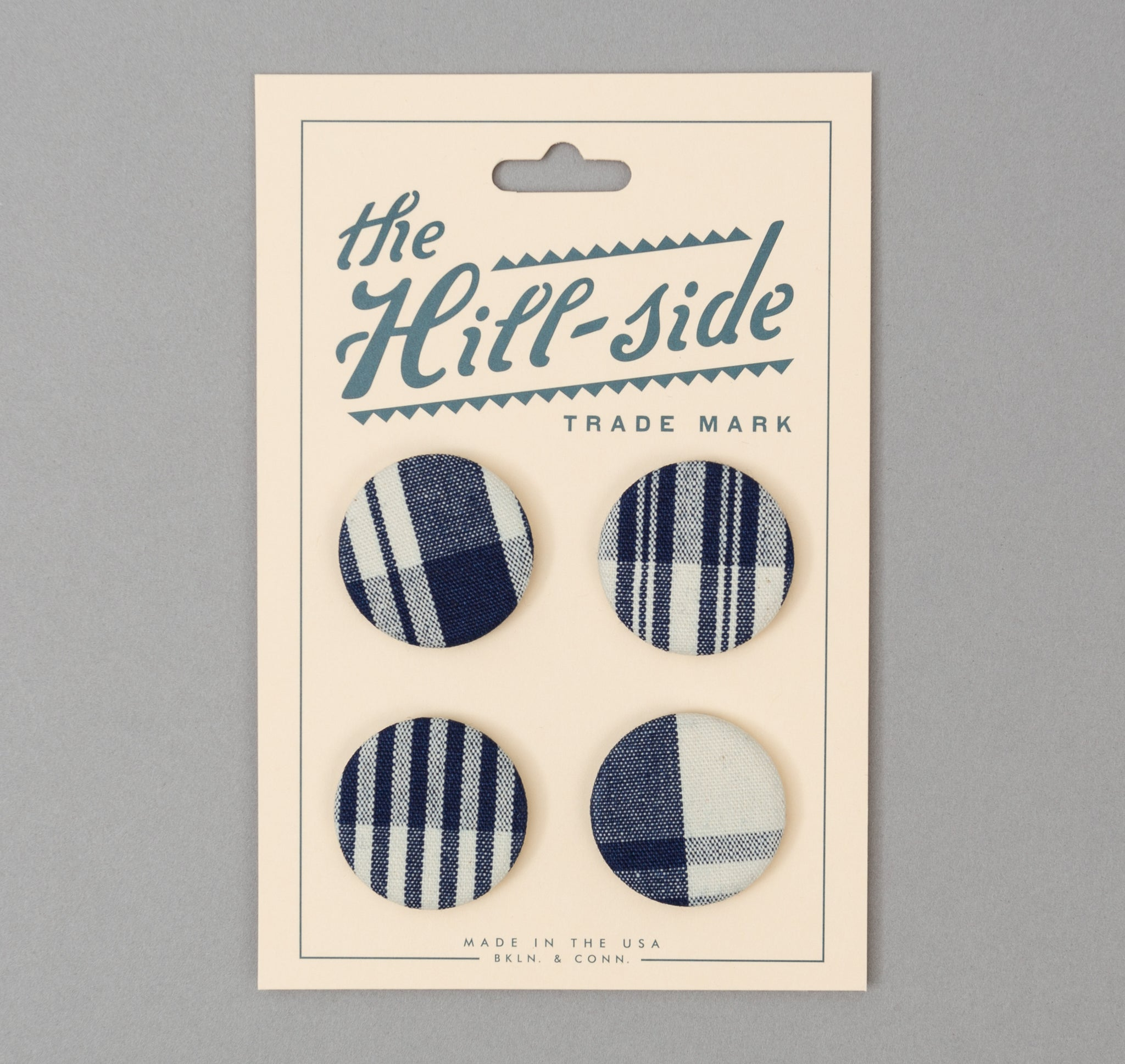 The Hill-Side - Non-Repeating Check Oxford Pin-Back Buttons, Indigo / White  - PB1-321 - image 1