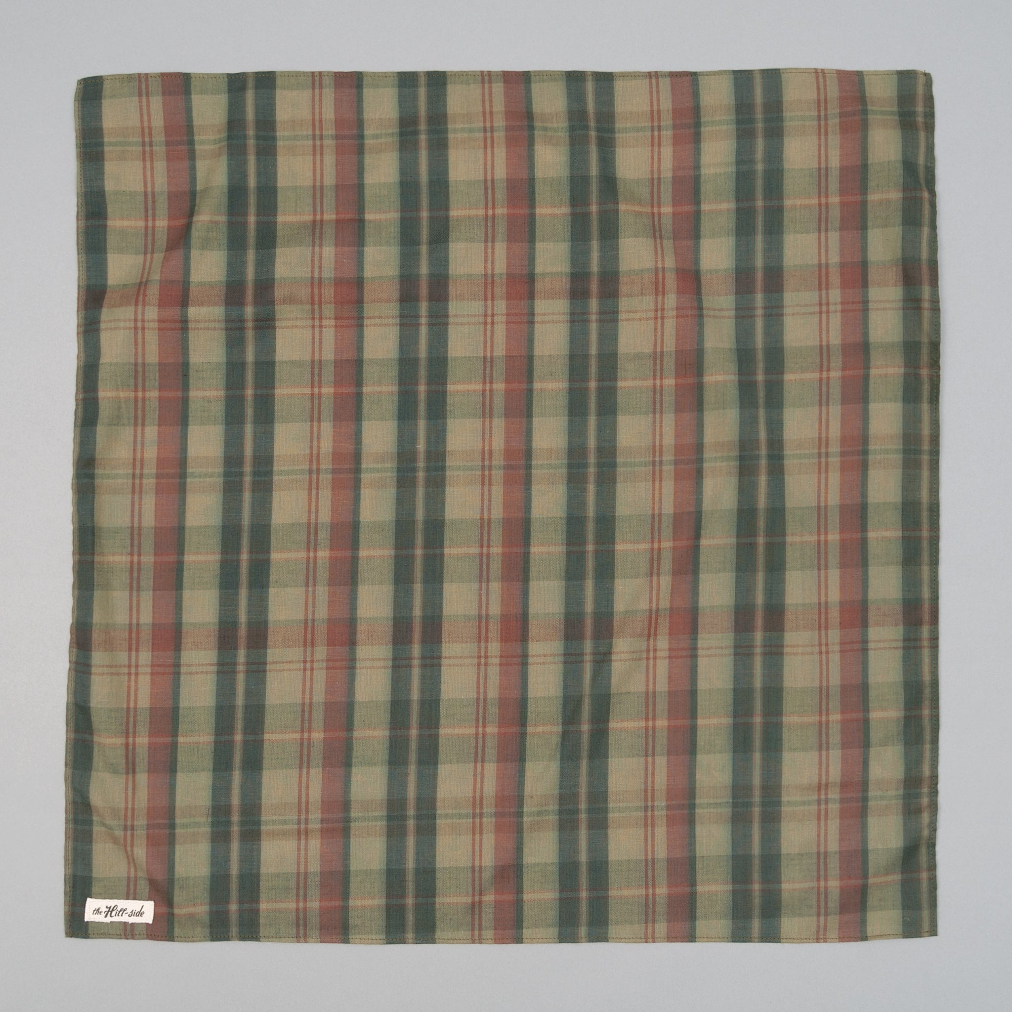 The Hill-Side - OD Indian Madras Bandana, Faded Red / Blue Check - BA1-426 - image 1