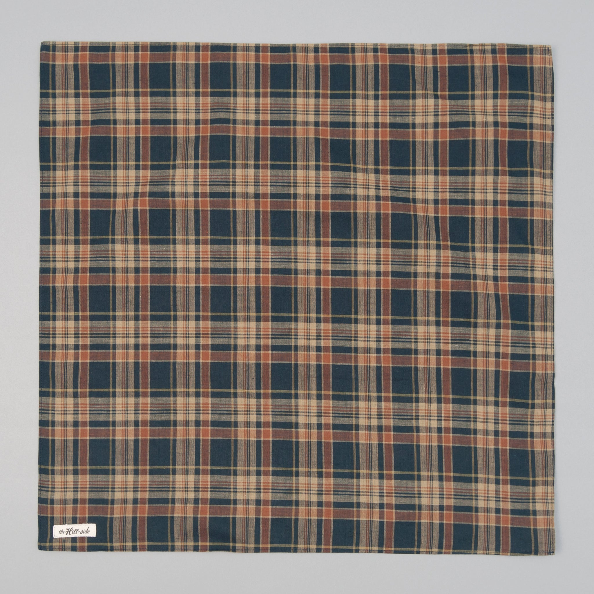 The Hill-Side - OD Indian Madras Bandana, Navy / Orange Check - BA1-424 - image 1