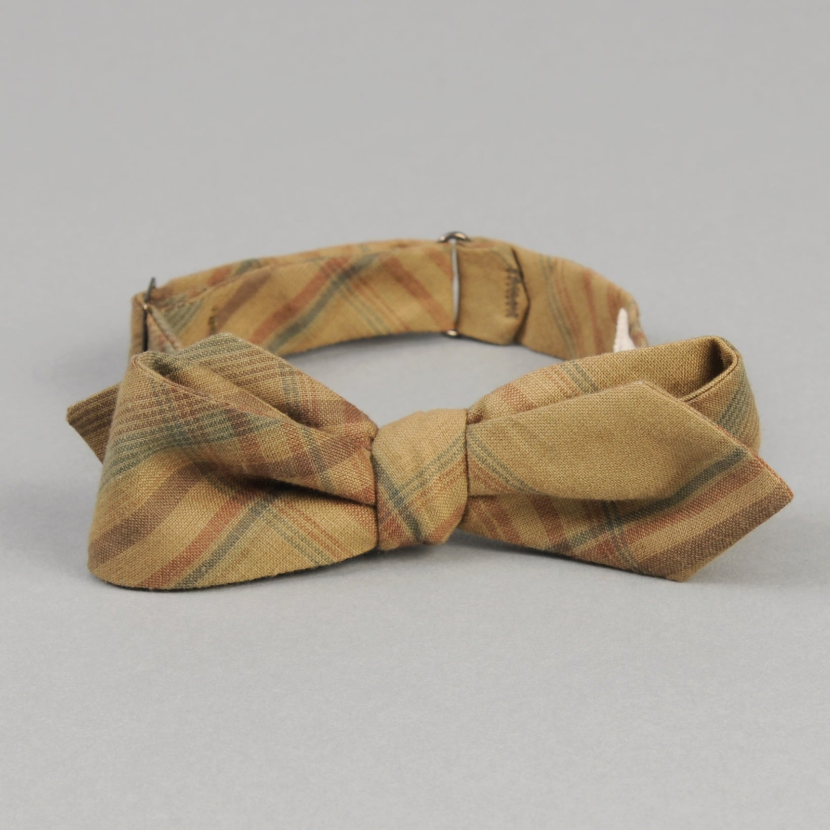 The Hill-Side - OD Indian Madras Bow Tie, Faded Brown / Orange / Blue Check - BT1-427