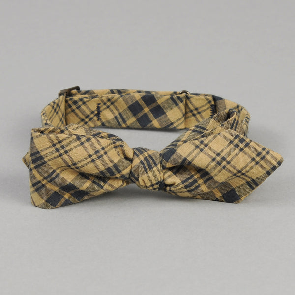 The Hill-Side - OD Indian Madras Bow Tie, Navy Check - BT1-425 - image 1