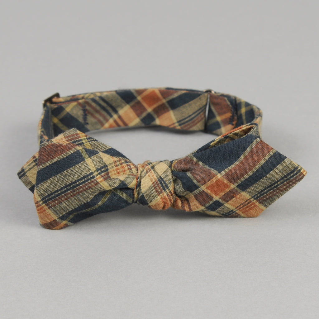 The Hill-Side - OD Indian Madras Bow Tie, Navy / Orange Check - BT1-424 - image 1