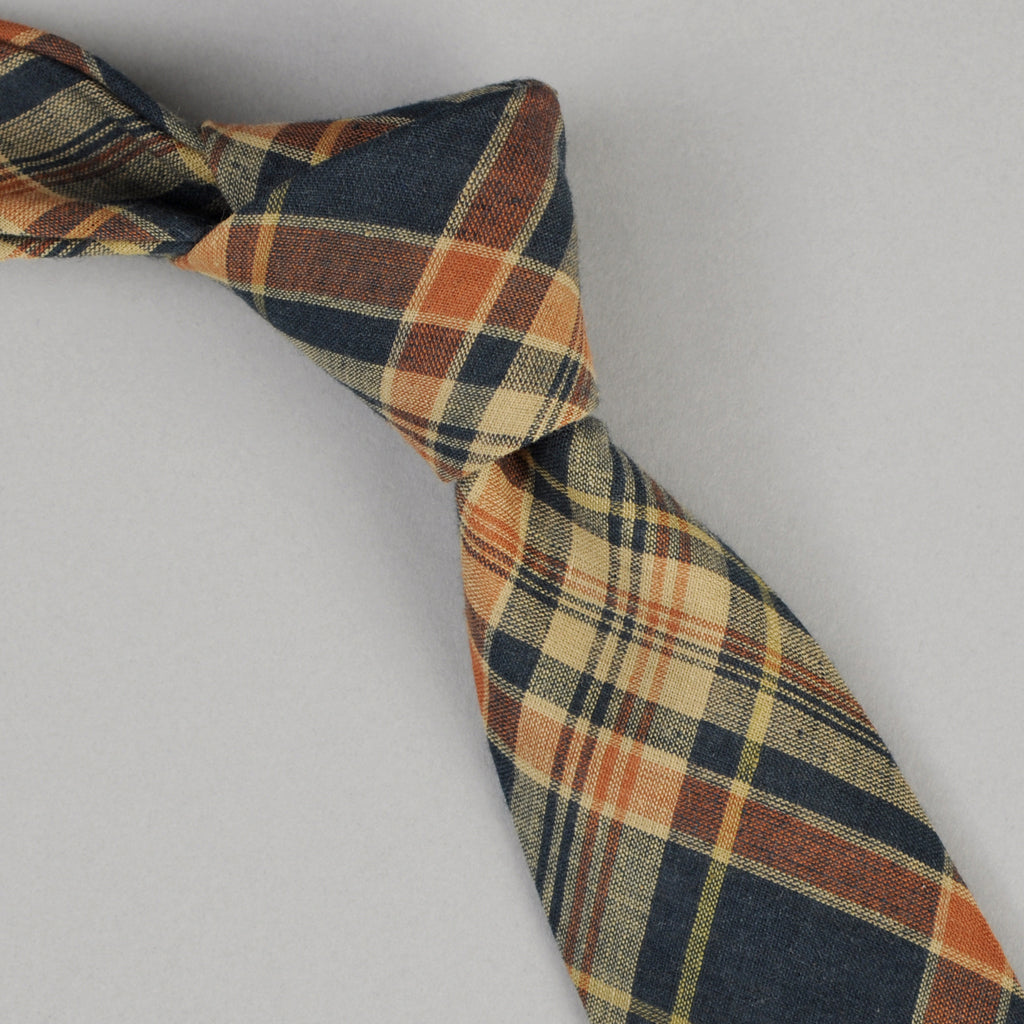The Hill-Side - O.D. Indian Madras Necktie, Navy / Orange Check - PT1-424 - image 1
