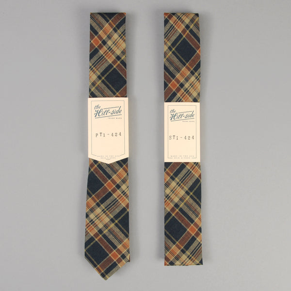 The Hill-Side - O.D. Indian Madras Necktie, Navy / Orange Check - PT1-424 - image 2