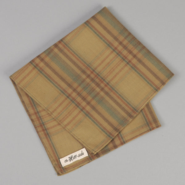 The Hill-Side - OD Indian Madras Pocket Square, Faded Brown / Orange / Blue Check - PS1-427 - image 1