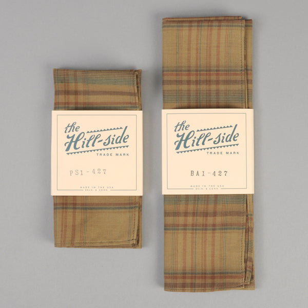 The Hill-Side - OD Indian Madras Pocket Square, Faded Brown / Orange / Blue Check - PS1-427 - image 2