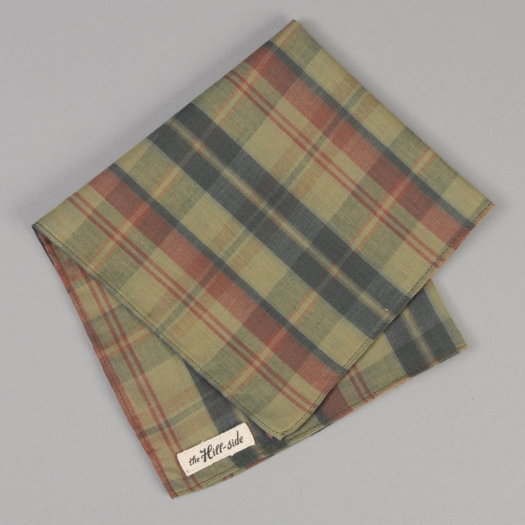 The Hill-Side - OD Indian Madras Pocket Square, Faded Red / Blue Check - PS1-426 - image 1