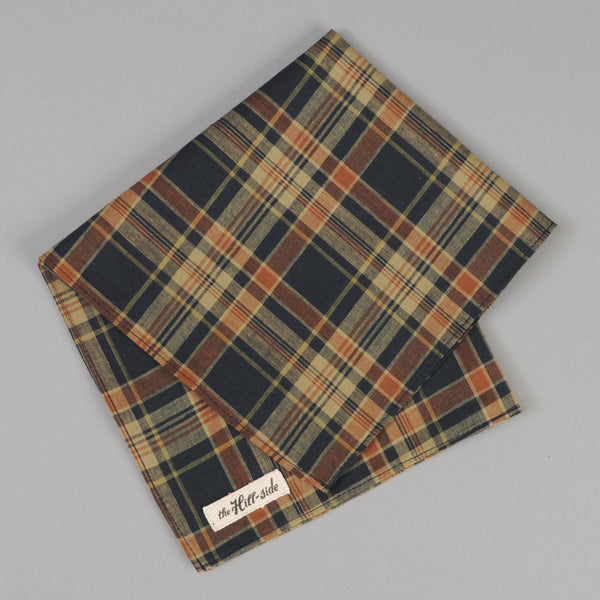 The Hill-Side - OD Indian Madras Pocket Square, Navy / Orange Check - PS1-424 - image 1