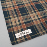 The Hill-Side - OD Indian Madras Pocket Square, Navy / Orange Check - PS1-424 - image 3