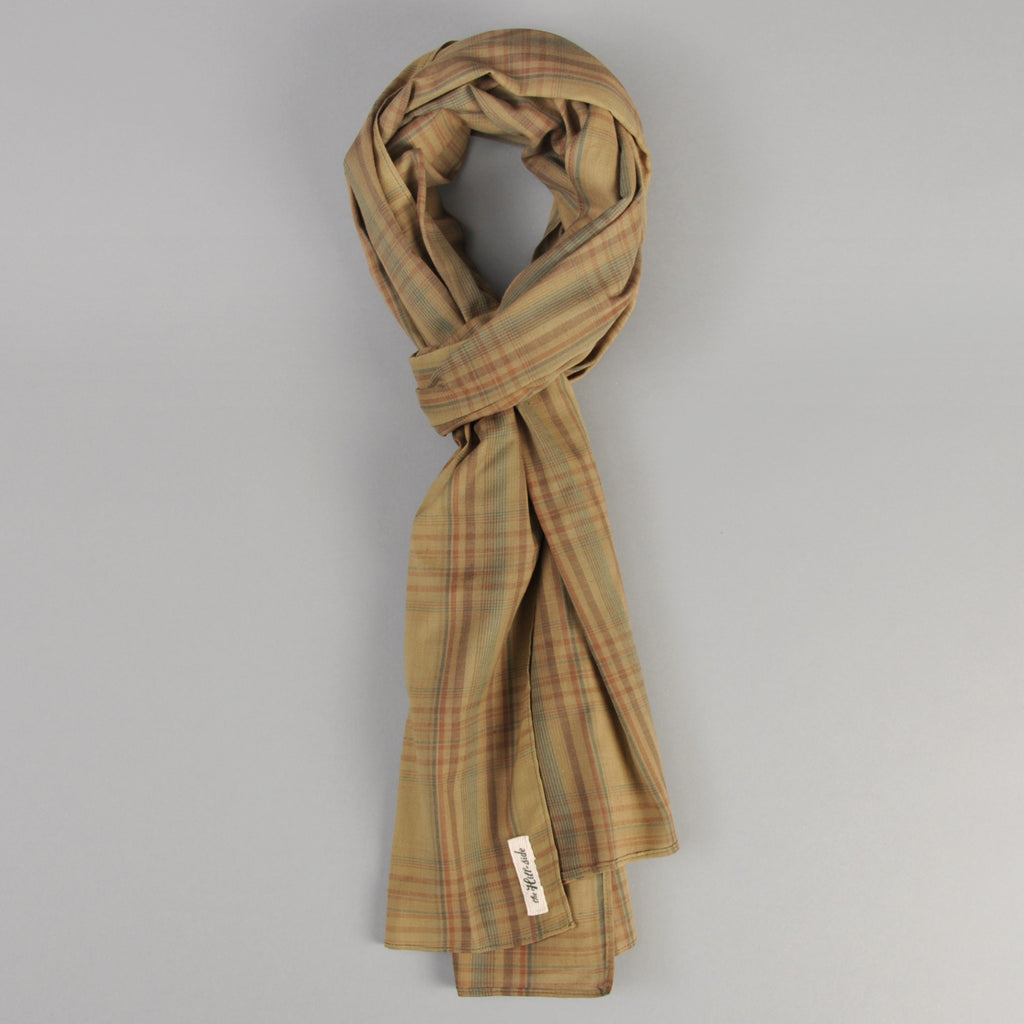 The Hill-Side OD Indian Madras Scarf, Faded Brown / Orange / Blue Check