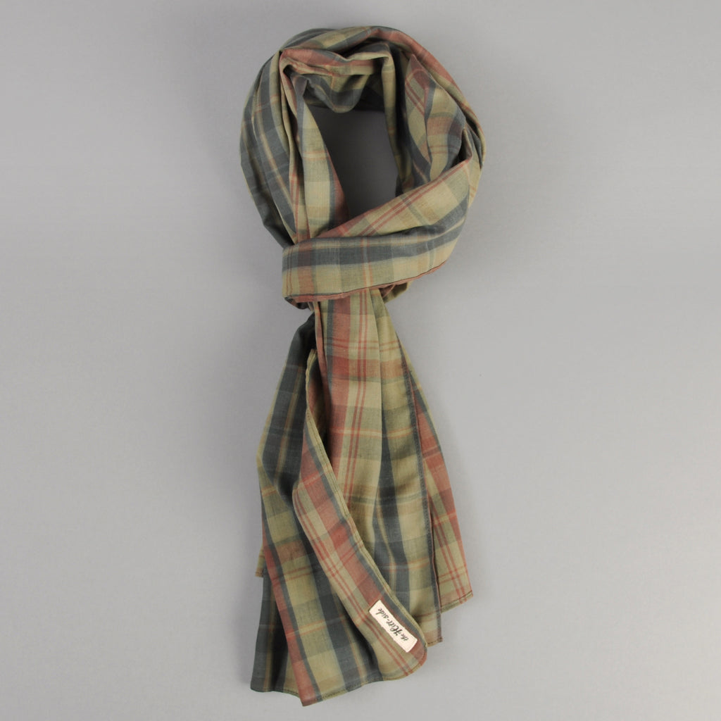 The Hill-Side OD Indian Madras Scarf, Faded Red / Blue Check