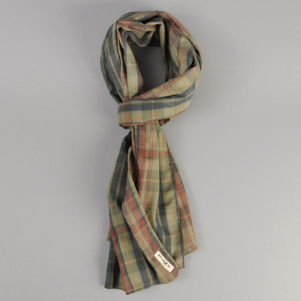 The Hill-Side - OD Indian Madras Scarf, Faded Red / Blue Check - SC1-426 - image 1