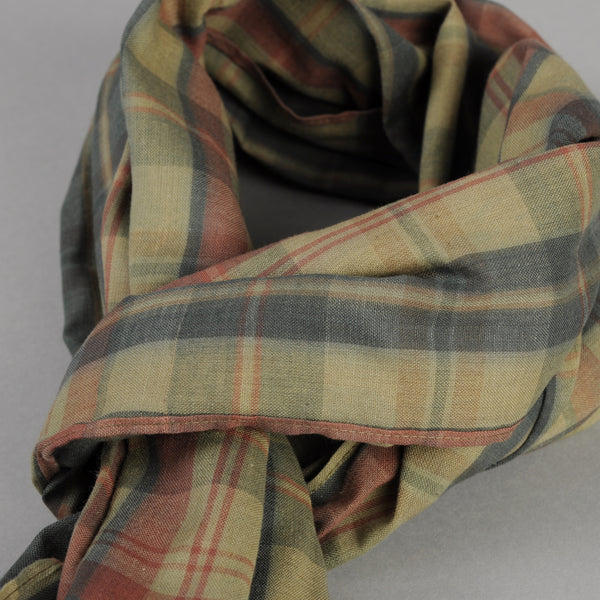 The Hill-Side - OD Indian Madras Scarf, Faded Red / Blue Check - SC1-426 - image 2