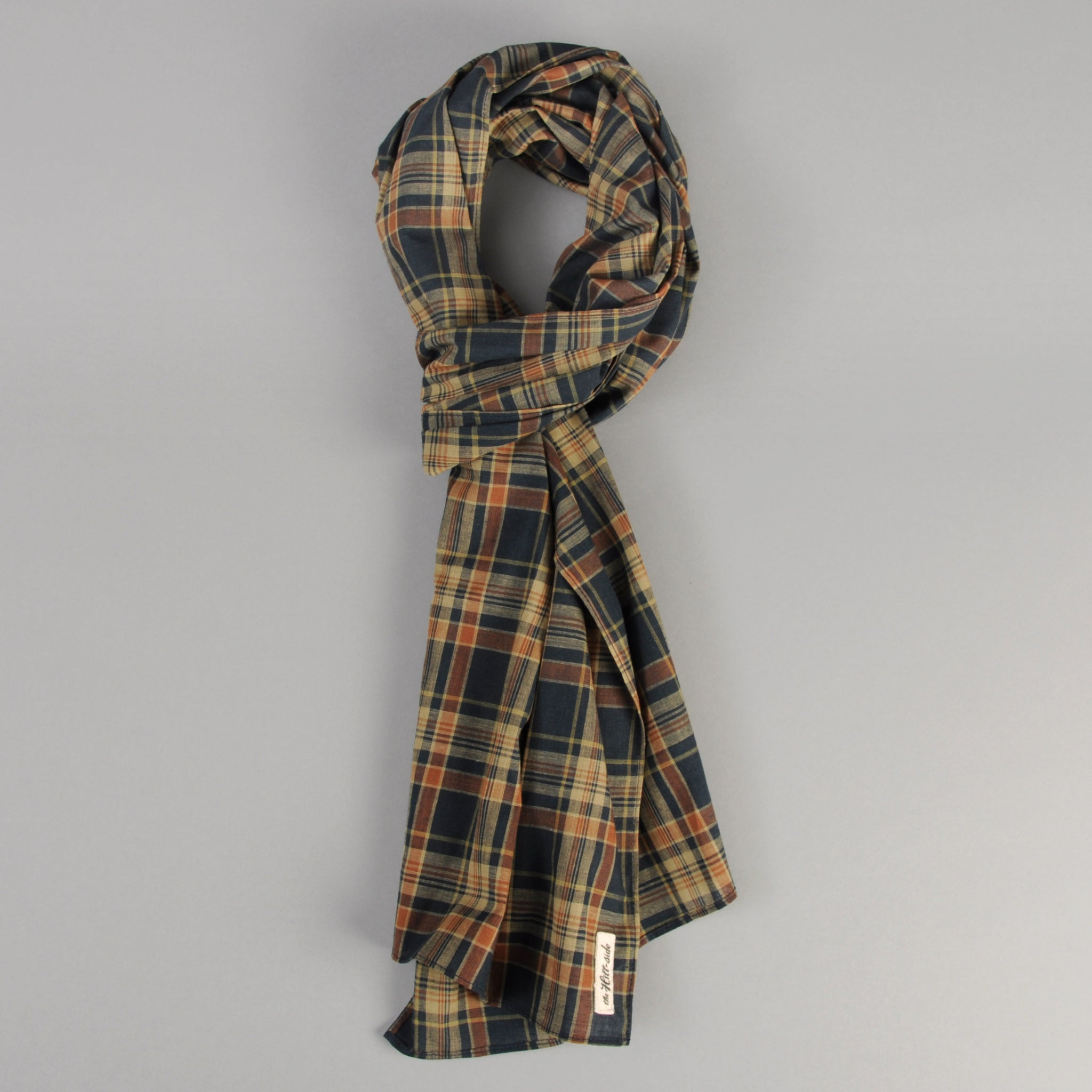 The Hill-Side - OD Indian Madras Scarf, Navy / Orange Check - SC1-424 - image 1