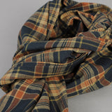 The Hill-Side - OD Indian Madras Scarf, Navy / Orange Check - SC1-424 - image 2