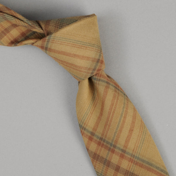 The Hill-Side - O.D. Indian Madras Tie, Faded Brown / Orange / Blue Check - PT1-427 - image 1