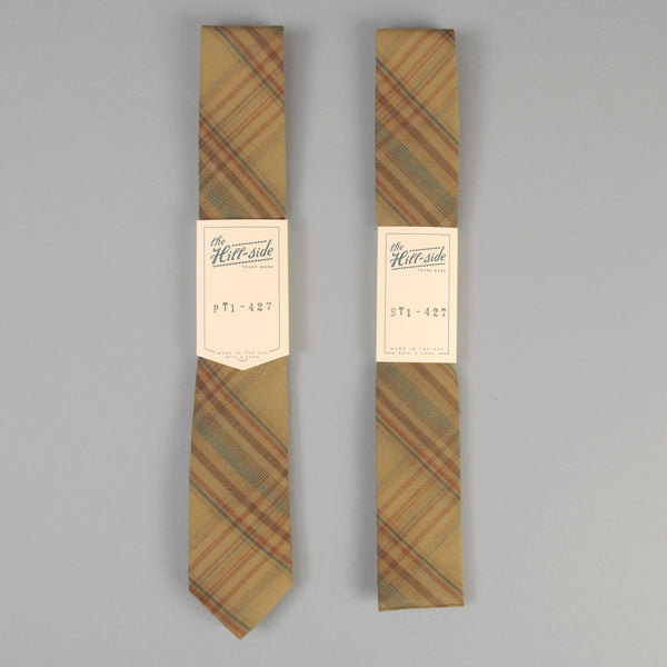 The Hill-Side - O.D. Indian Madras Tie, Faded Brown / Orange / Blue Check - PT1-427 - image 2