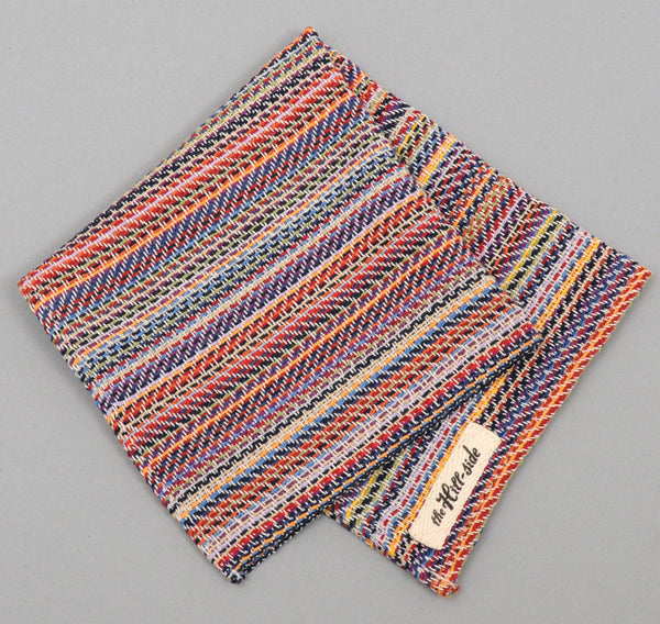 "The Hill-Side ""Old Virginia"" Lightweight Modified Herringbone Stripe Pocket Square, White"
