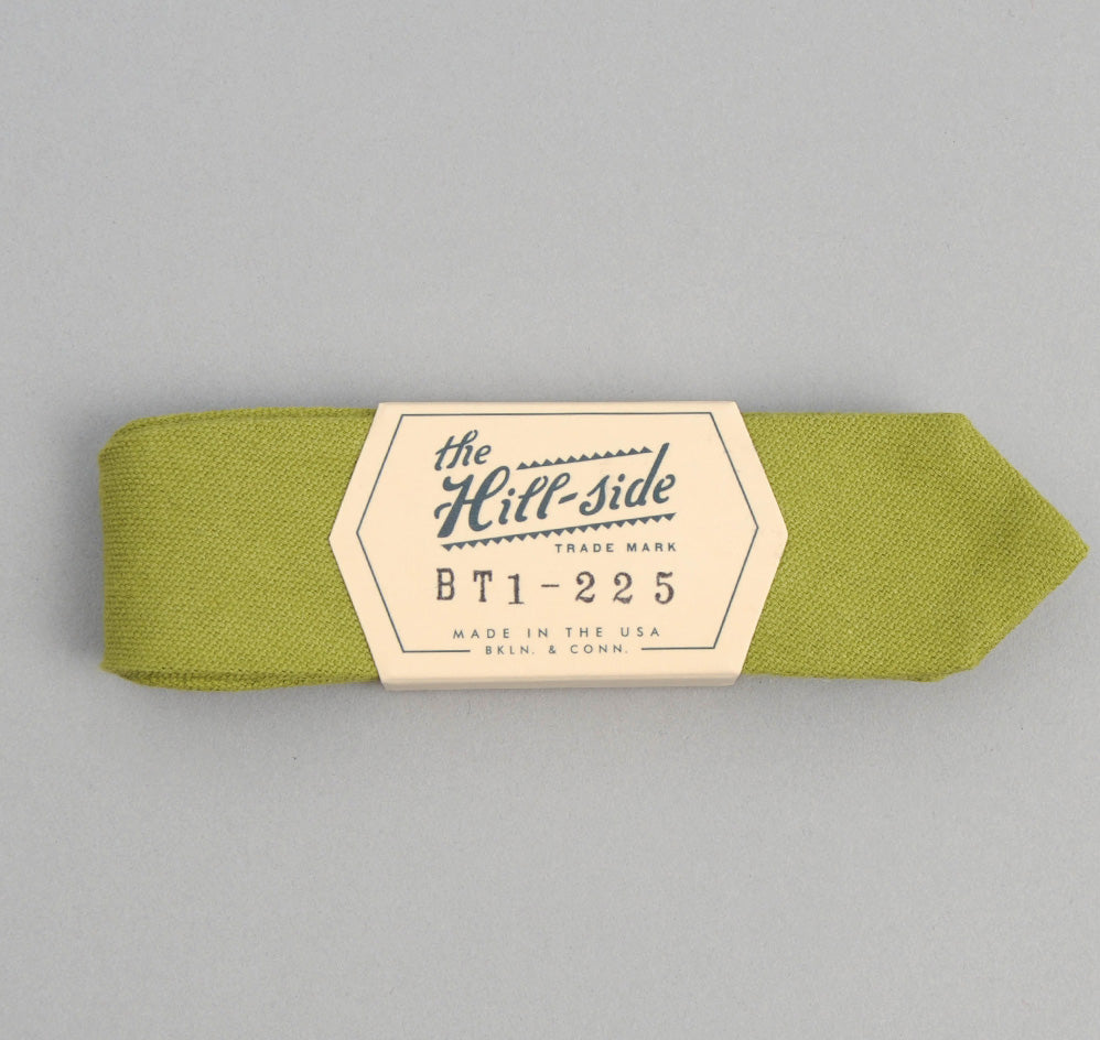 The Hill-Side - Overdyed Soft Oxford Bow Tie, Light Olive - BT1-225 - image 1