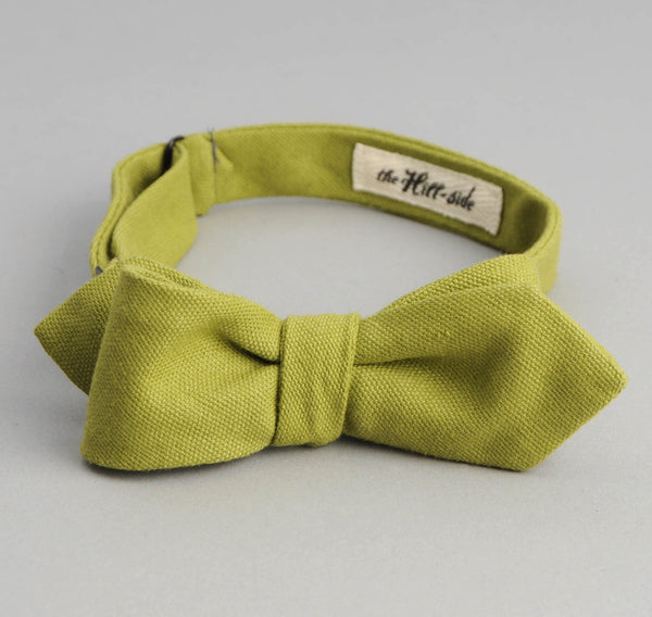 The Hill-Side - Overdyed Soft Oxford Bow Tie, Light Olive - BT1-225 - image 2