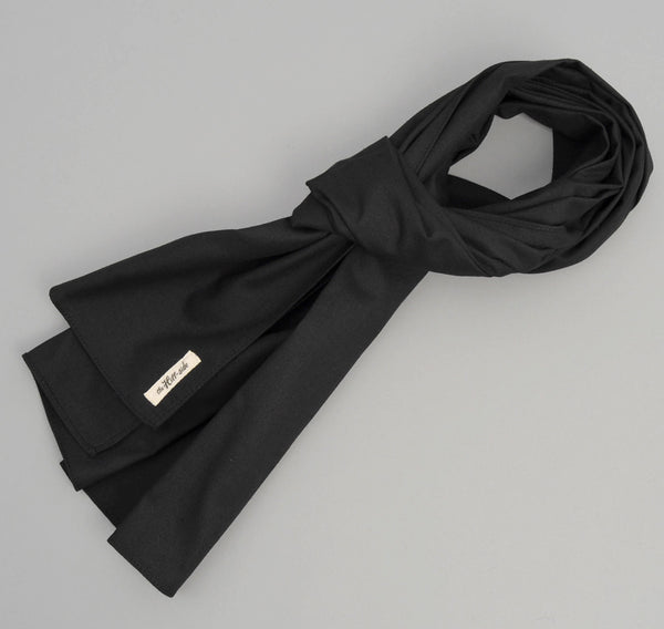 The Hill-Side - Overdyed Soft Oxford Large Scarf, Black - SC1-224 - image 1