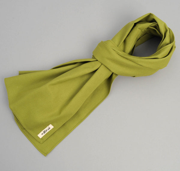 The Hill-Side - Overdyed Soft Oxford Large Scarf, Light Olive - SC1-225 - image 1