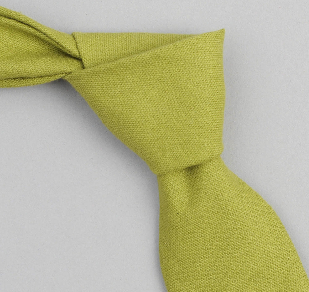 The Hill-Side - Overdyed Soft Oxford Necktie, Light Olive - PT1-225 - image 1
