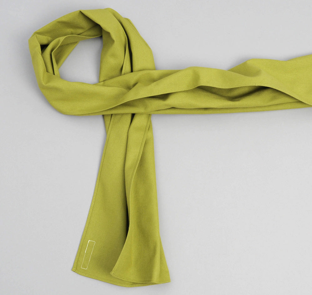 The Hill-Side Overdyed Soft Oxford Small Scarf, Light Olive