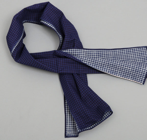 The Hill-Side - Overprinted Gingham Small Scarf -