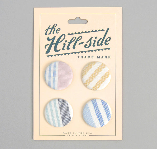 The Hill-Side PB1-03 - Multi-Stripe Oxfords Pin-Back Buttons