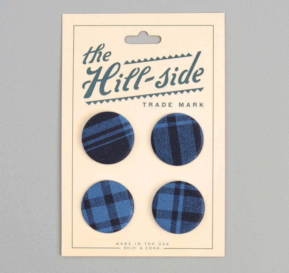 The Hill-Side - PB1-04 - Indigo Check Oxfords Pin-Back Buttons - PB1-X-SS15-4 - image 1