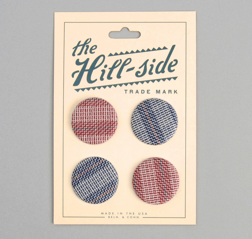 The Hill-Side - PB1-06 - Basketweave Twill Stripe Pin-Back Buttons - PB1-X-SS15-6 - image 1
