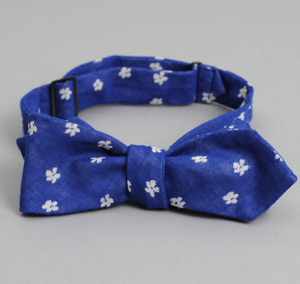 The Hill-Side - PLUM FLOWER JACQUARD BOW TIE, BLUE - BTN-163 - image 2