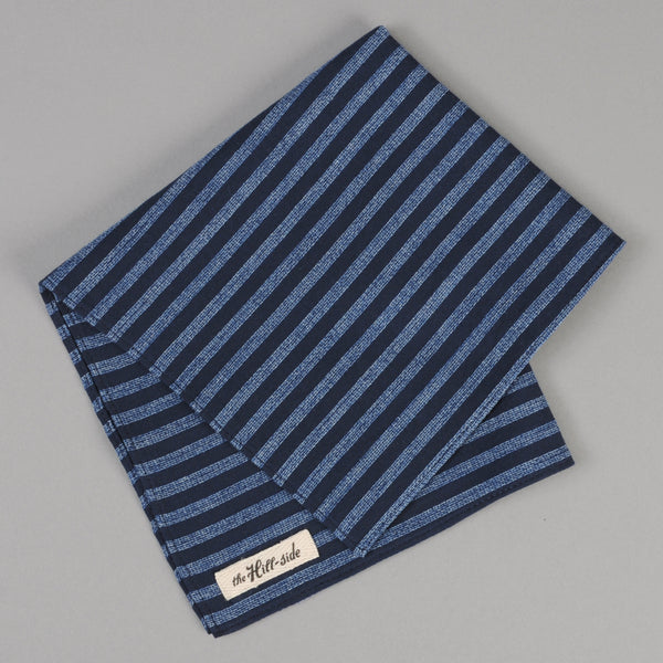 The Hill-Side - Panama Stripe Pocket Square, Indigo / Light Indigo - PS1-437 - image 1
