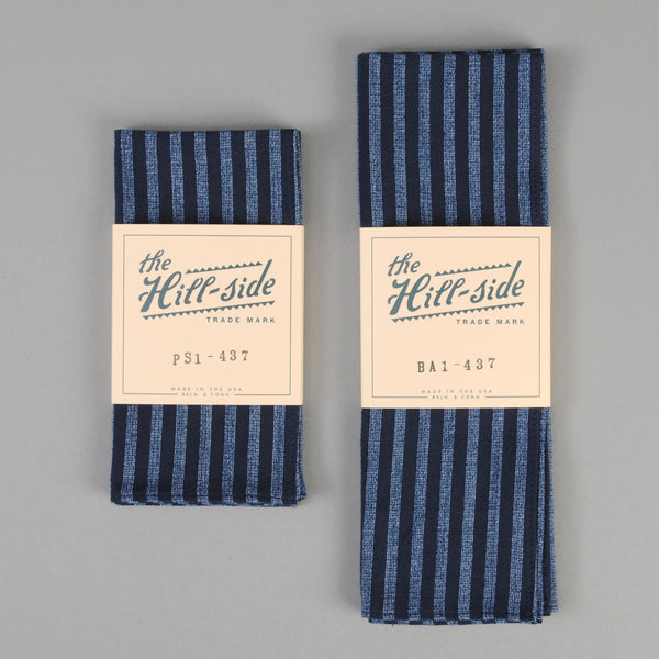 The Hill-Side - Panama Stripe Pocket Square, Indigo / Light Indigo - PS1-437 - image 2