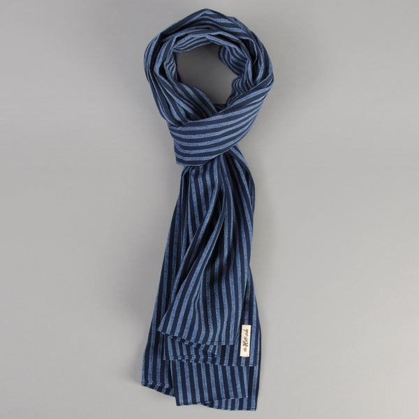 The Hill-Side - Panama Stripe Scarf, Indigo / Light Indigo - SC1-437 - image 1