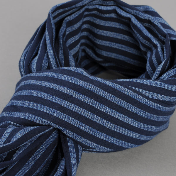 The Hill-Side - Panama Stripe Scarf, Indigo / Light Indigo - SC1-437 - image 2