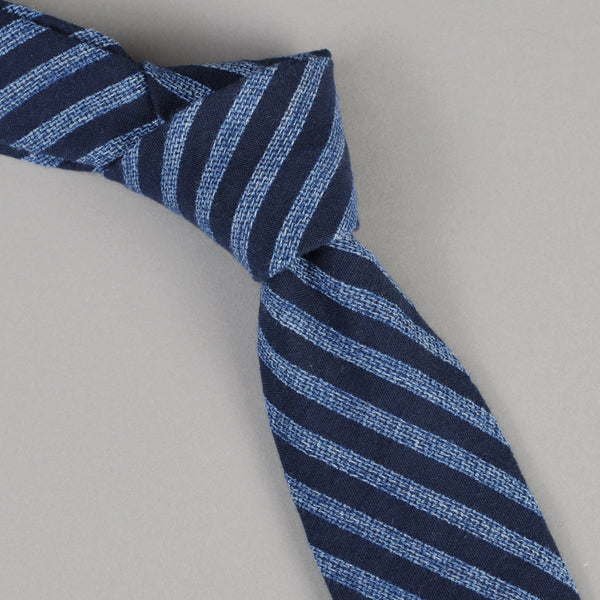 The Hill-Side - Panama Stripe Tie, Dark Indigo / Light Indigo - PT1-437 - image 1
