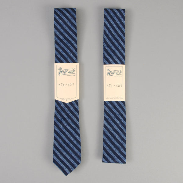 The Hill-Side - Panama Stripe Tie, Dark Indigo / Light Indigo - PT1-437 - image 2
