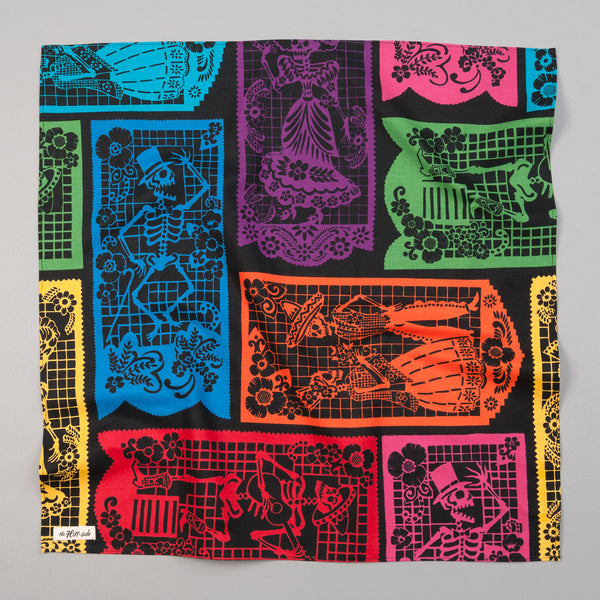 "The Hill-Side - ""Papel Picado"" Print Bandana, Black & Multicolor - BA1-477 - image 1"