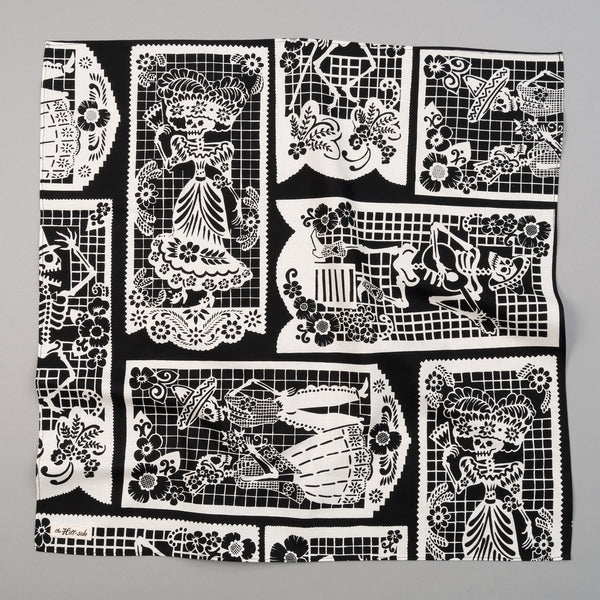 "The Hill-Side - ""Papel Picado"" Print Bandana, Black & White - BA1-476 - image 1"