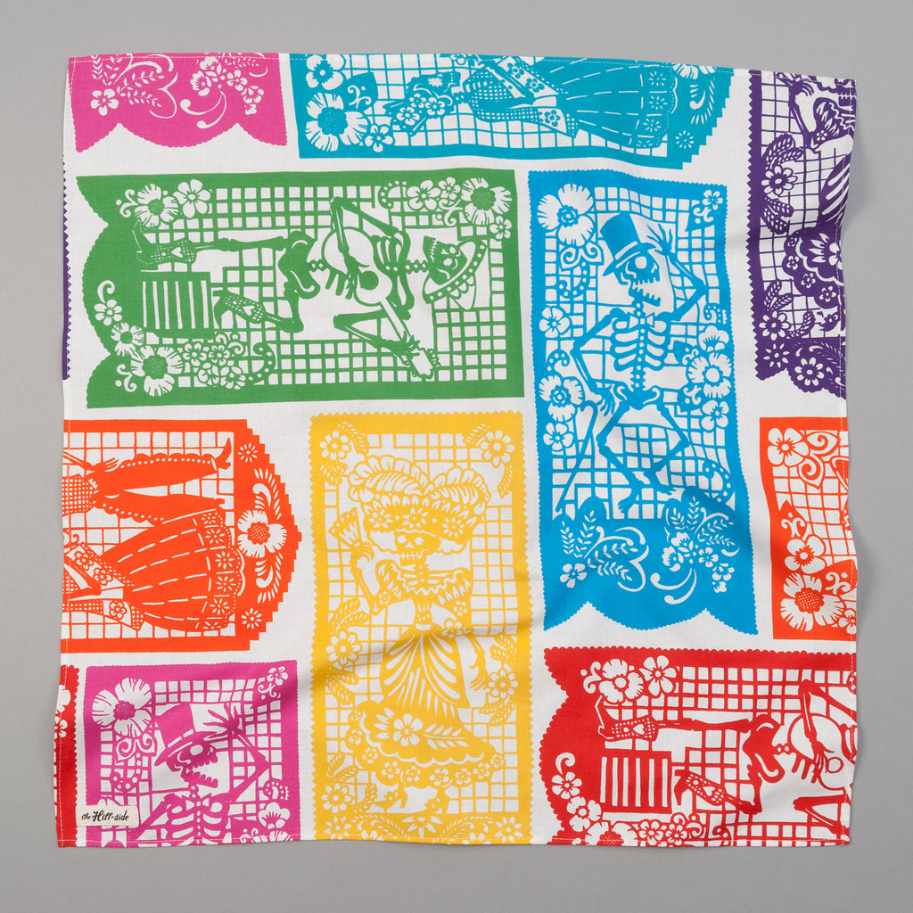 "The Hill-Side - ""Papel Picado"" Print Bandana, White & Multicolor - BA1-478 - image 1"