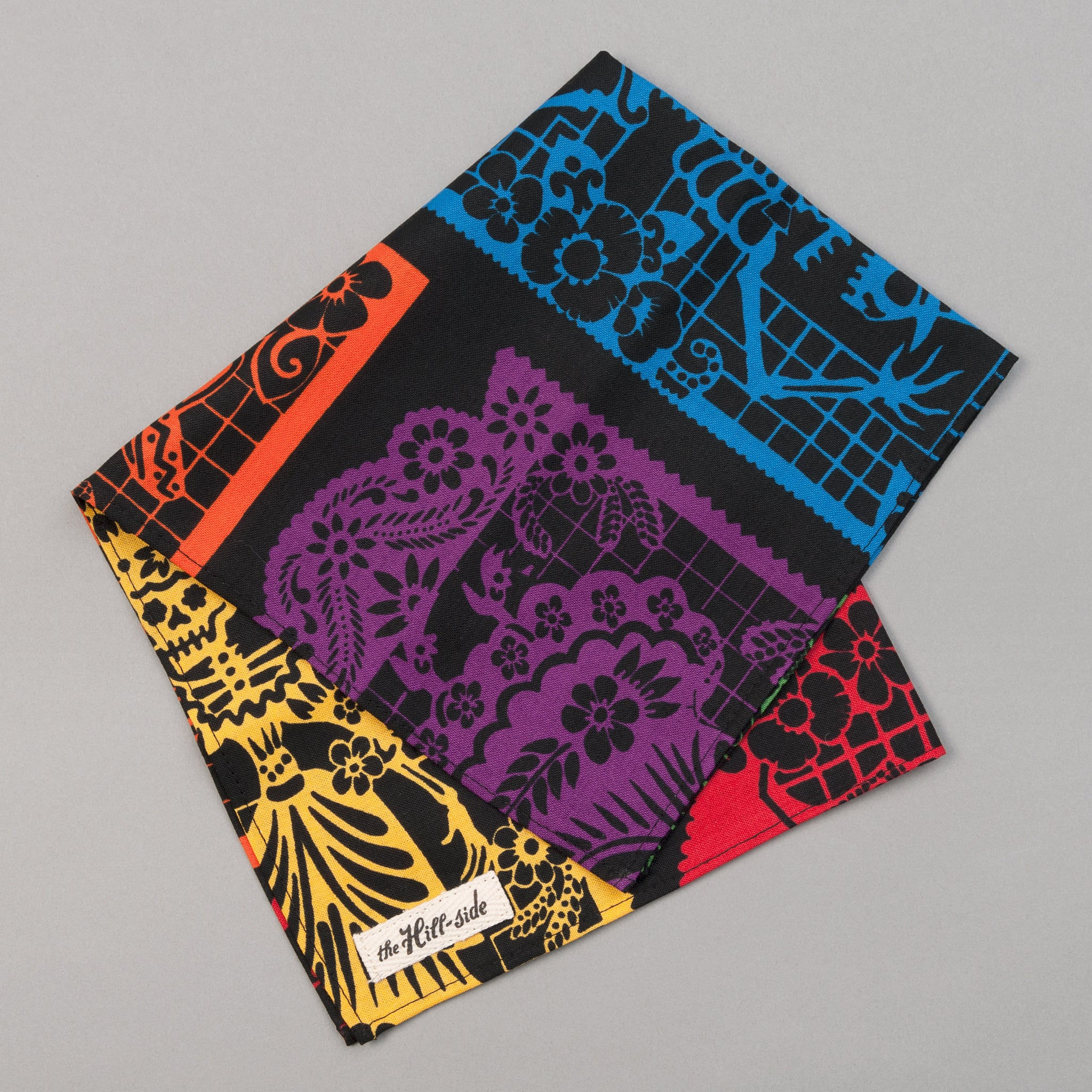 "The Hill-Side - ""Papel Picado"" Print Pocket Square, Black & Multicolor - PS1-477 - image 1"