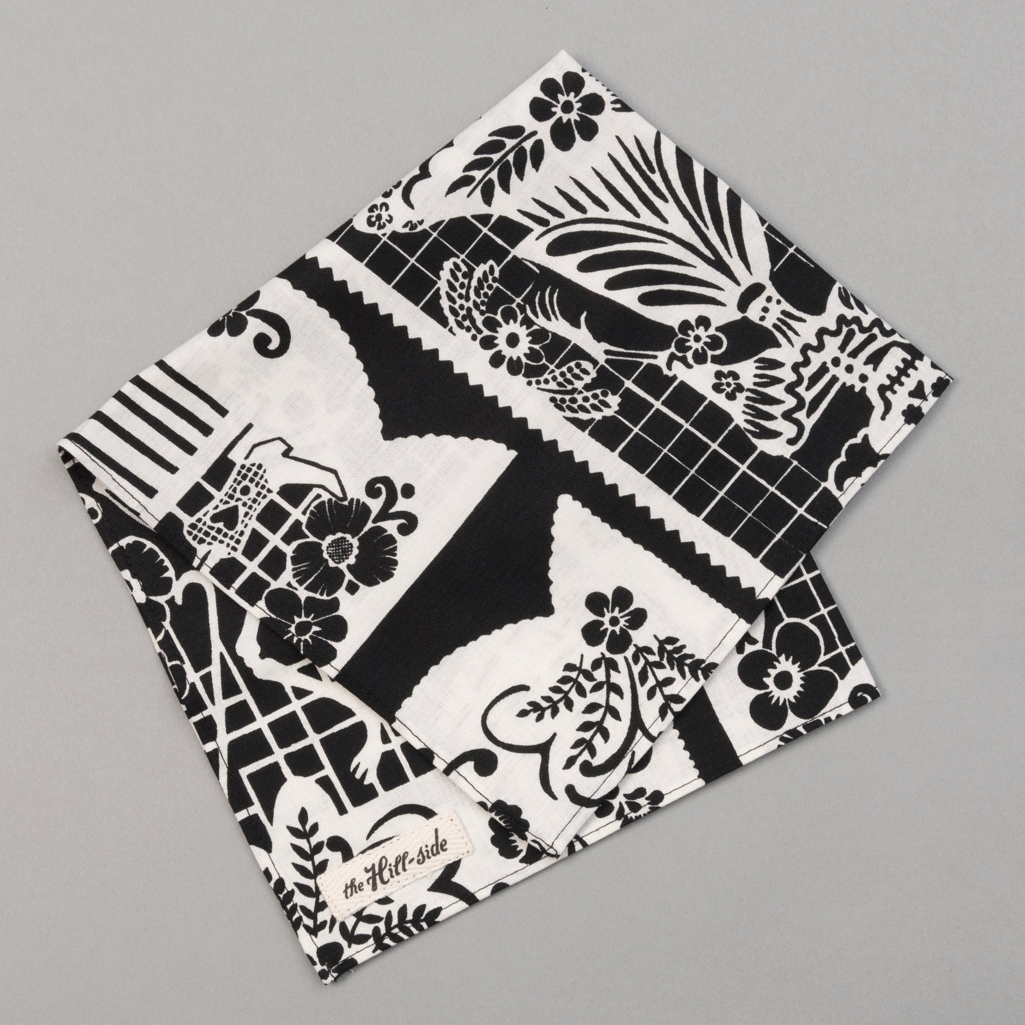 "The Hill-Side - ""Papel Picado"" Print Pocket Square, Black & White - PS1-476 - image 1"