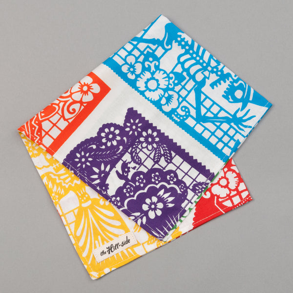 "The Hill-Side - ""Papel Picado"" Print Pocket Square, White & Multicolor - PS1-478 - image 1"
