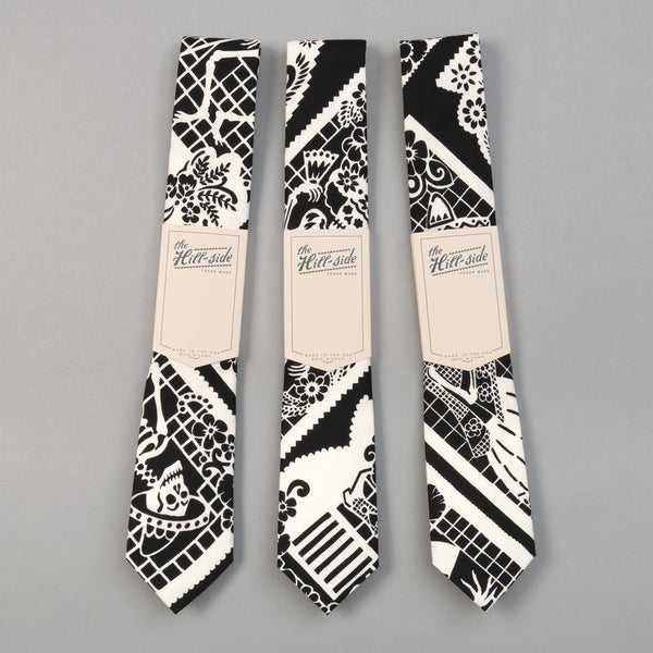 "The Hill-Side - ""Papel Picado"" Print Tie, Black & White - PT1-476 - image 2"