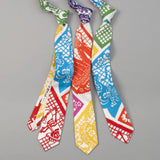 "The Hill-Side - ""Papel Picado"" Print Tie, White & Multicolor - PT1-478 - image 3"