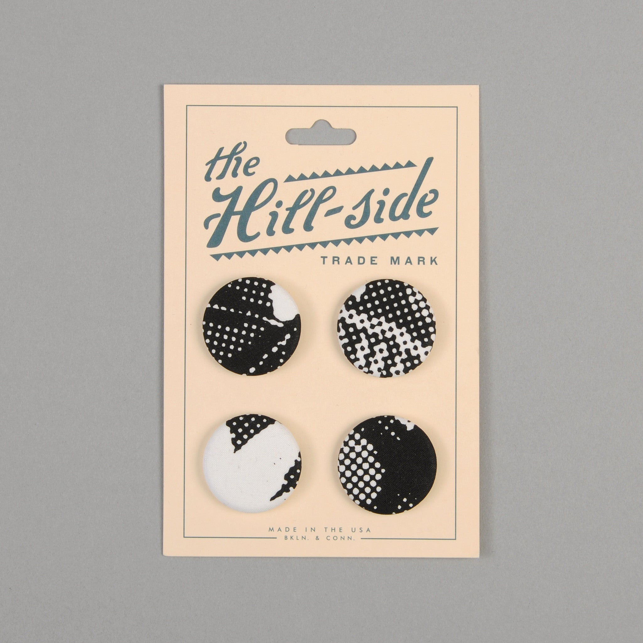 The Hill-Side - Pin-Back Buttons, Big Halftone Floral Print - PB1-20