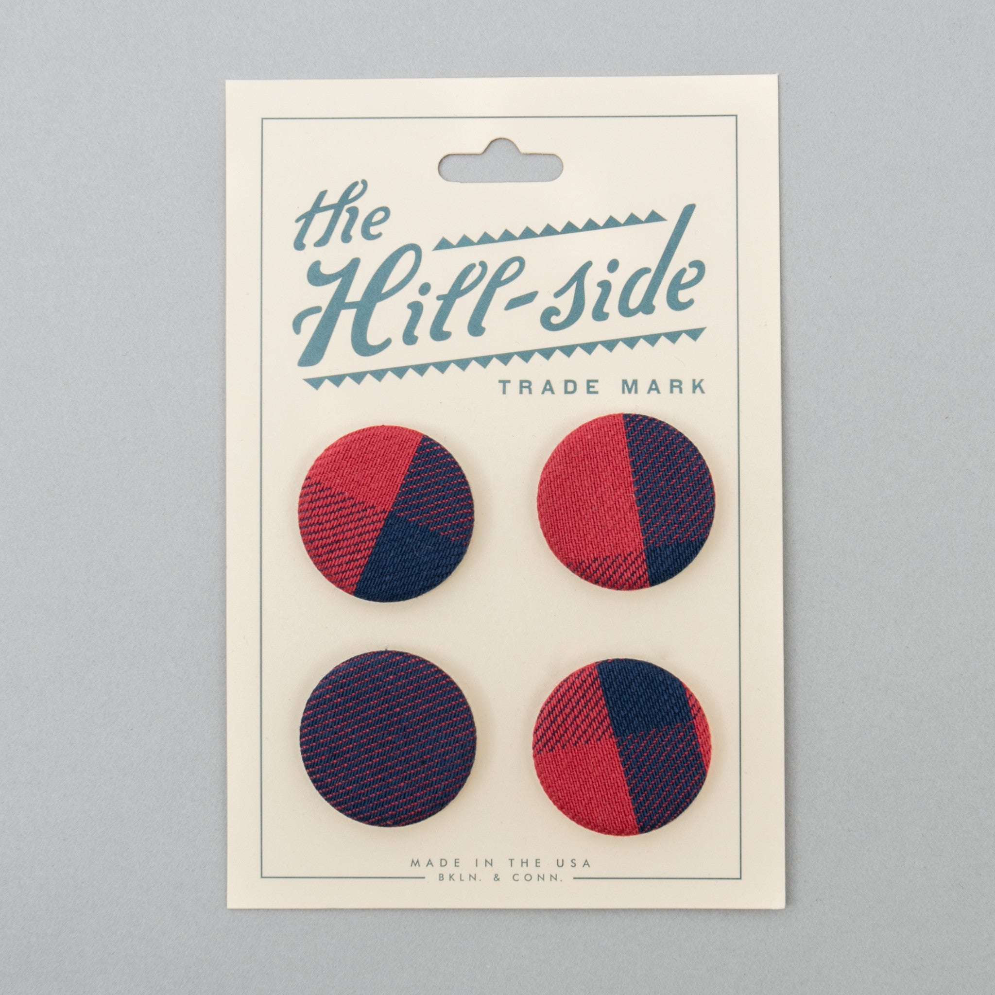 The Hill-Side Pin-Back Buttons, Indigo/Red Plaids