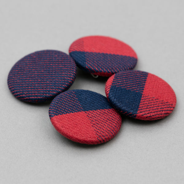 The Hill-Side - Pin-Back Buttons, Indigo/Red Plaids - PB1-15 - image 2